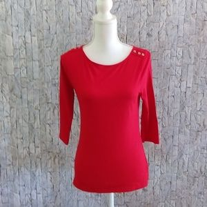 A New Day Red 3/4 Sleeve Top Size Small